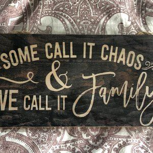 Wooden hanging family sign